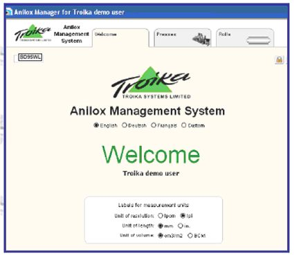 Finestra introduttiva al gestionale Anilox Management System